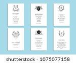 set of wedding stationery... | Shutterstock .eps vector #1075077158