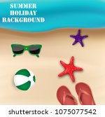 summer holiday background. top... | Shutterstock . vector #1075077542