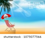 summer holiday background with... | Shutterstock .eps vector #1075077566