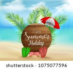 enjoy summer holiday on circle... | Shutterstock .eps vector #1075077596