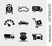 set of 9 transport filled icons ... | Shutterstock .eps vector #1075082255