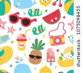 seamless pattern with summer... | Shutterstock .eps vector #1075098455