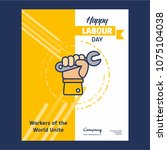 happy labour day design with... | Shutterstock .eps vector #1075104038