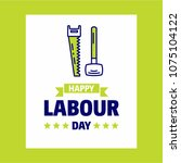 happy labour day design with... | Shutterstock .eps vector #1075104122