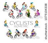 Set Of Cyclists. A Woman On A...