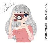 hand drawn cute fashion cartoon ... | Shutterstock .eps vector #1075108772