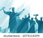 graduation in silhouette in... | Shutterstock .eps vector #1075114295