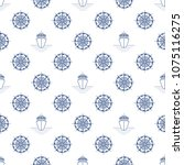 seamless travel pattern  blue... | Shutterstock .eps vector #1075116275