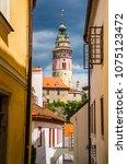 view of tower of ceski krumlov... | Shutterstock . vector #1075123472