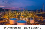 aerial view oil refinery ... | Shutterstock . vector #1075125542