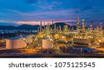 aerial top view oil and gas...   Shutterstock . vector #1075125545