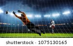 soccer game moment  on... | Shutterstock . vector #1075130165