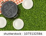 bbq picnic in park  banner or... | Shutterstock .eps vector #1075132586