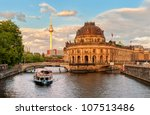 Stock photo museum island on spree river and alexanderplatz tv tower in center of berlin germany 107513486