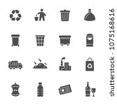 garbage recycling icons   Shutterstock .eps vector #1075168616