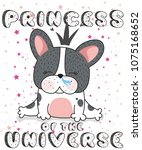french bulldog princess of the... | Shutterstock .eps vector #1075168652