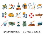 camping icon set. tourist... | Shutterstock .eps vector #1075184216