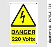 "plate  ""danger. 220 volts"".... | Shutterstock .eps vector #1075184738"