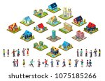 vector set of urban isometric... | Shutterstock .eps vector #1075185266