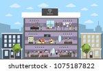 jewelry store building interior ... | Shutterstock .eps vector #1075187822