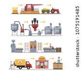 bread making set. process of... | Shutterstock .eps vector #1075191485