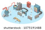 bread production set. people on ... | Shutterstock .eps vector #1075191488