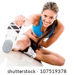 fit woman stretching her leg to ... | Shutterstock . vector #107519378