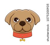 head of dog with collar... | Shutterstock .eps vector #1075200935