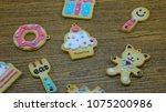 cookies pattern set on... | Shutterstock . vector #1075200986