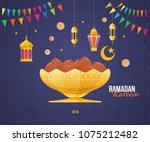 ramadan kareem greeting card... | Shutterstock .eps vector #1075212482