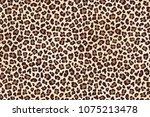 leopard spots fur  horizontal... | Shutterstock . vector #1075213478