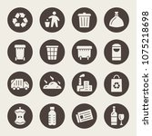 garbage recycling icons | Shutterstock .eps vector #1075218698