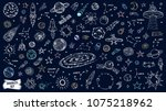 space doodles set. astronomy.... | Shutterstock .eps vector #1075218962
