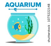 aquarium cartoon. fish home... | Shutterstock . vector #1075222148