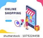 online shopping concept banner ... | Shutterstock .eps vector #1075224458