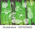 summer set. ink hand drawn... | Shutterstock .eps vector #1075224632