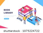 book library concept banner... | Shutterstock .eps vector #1075224722