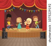 music kids band on concert scene | Shutterstock .eps vector #1075229192