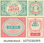 set of 4 old cards with vintage ... | Shutterstock .eps vector #1075230395