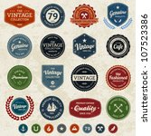 Set of retro vintage badges and labels with texture | Shutterstock vector #107523386