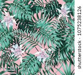 tropical palm leaves and... | Shutterstock .eps vector #1075238126