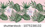 tropical leaves and flowers...   Shutterstock .eps vector #1075238132