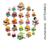 food truck icons set. isometric ... | Shutterstock .eps vector #1075248812