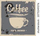 vector banner on coffee theme... | Shutterstock .eps vector #1075249376