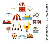 amusement park icons set in... | Shutterstock .eps vector #1075250255