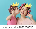 funny family  mother and her... | Shutterstock . vector #1075250858