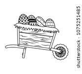 line eggs easter decoration... | Shutterstock .eps vector #1075251485