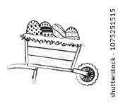 grunge eggs easter decoration... | Shutterstock .eps vector #1075251515