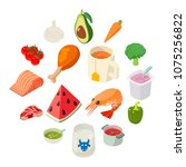 food icons set. isometric... | Shutterstock .eps vector #1075256822