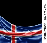 iceland  flag of silk with... | Shutterstock . vector #1075257542